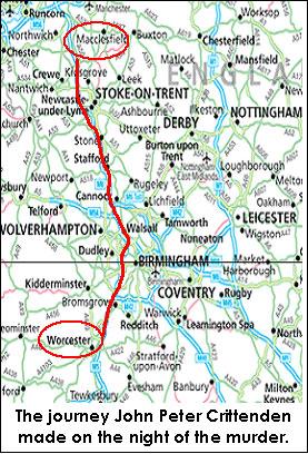 mapa de la ruta tomada por el asesino